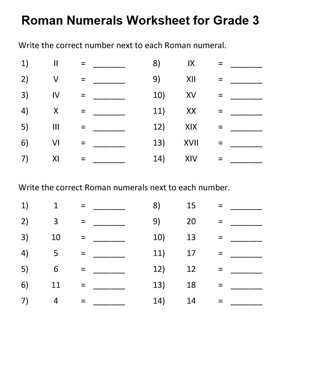 Printable Roman Numeral Worksheet Grade 3