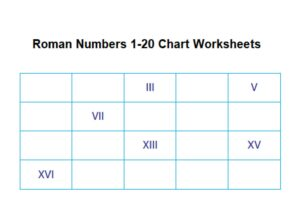 Roman Numbers 1 20 Chart Worksheets for Kids pdf