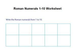 Roman Numerals 1 10 Chart Worksheet pdf