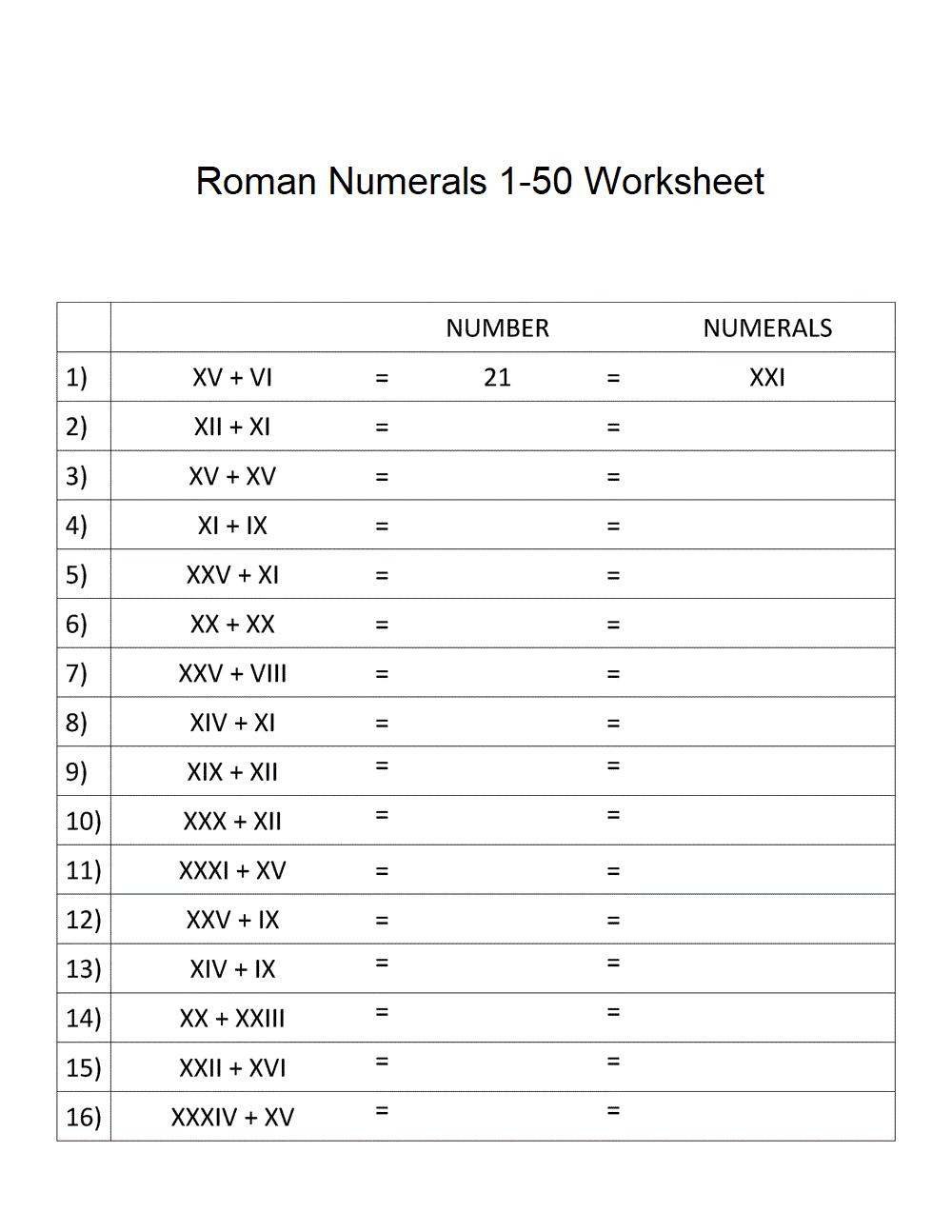 Roman Numerals 1-50 Worksheet