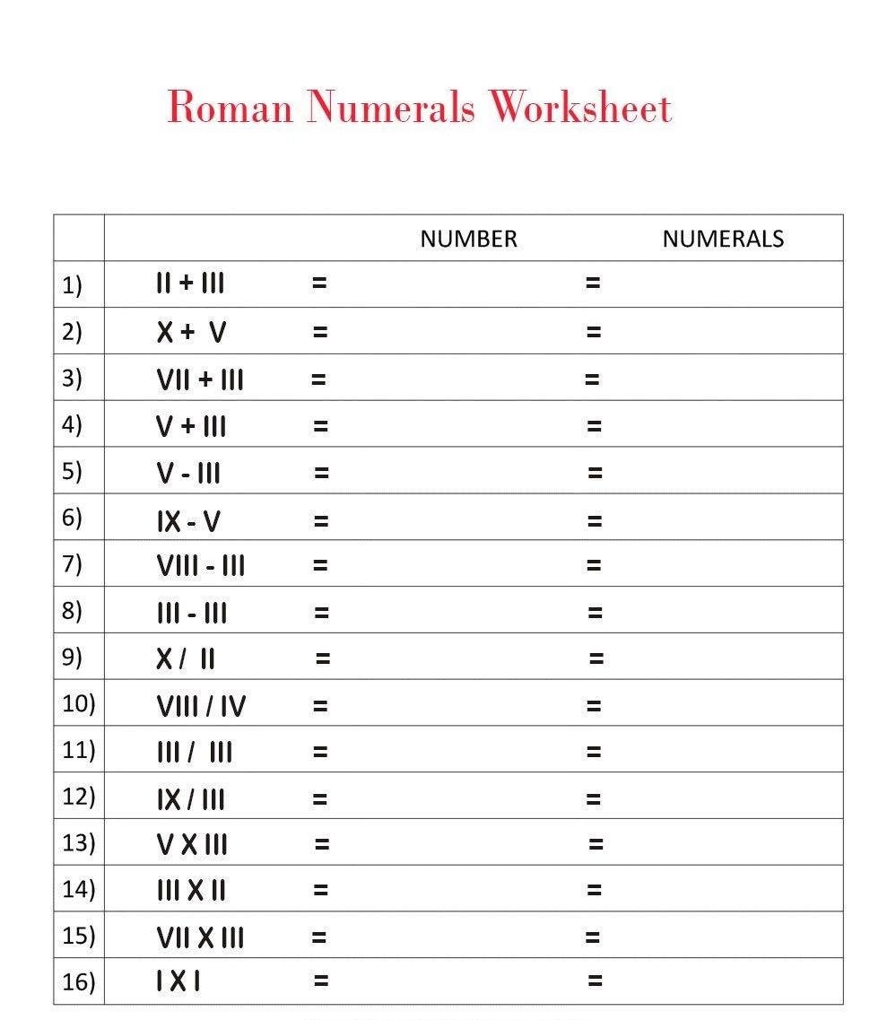 Roman Numbers Worksheet for Kids